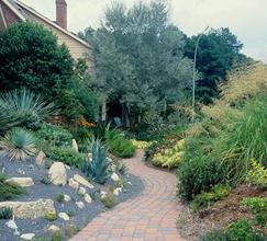 JLBG residence, walk toward Southwestern patio garden - 2004