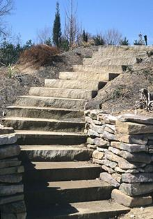 Sunken rain garden steps installed - 2004